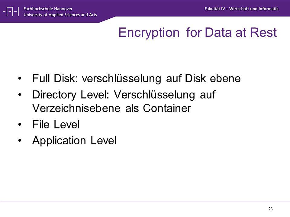26 Encryption for Data at Rest Full Disk: verschlüsselung auf Disk ebene Directory Level: Verschlüsselung auf Verzeichnisebene als Container File Leve