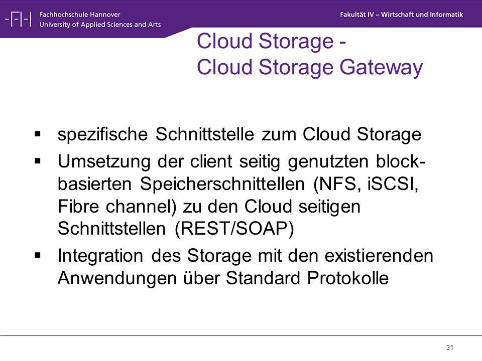 31 Cloud Storage - Cloud Storage Gateway  spezifische Schnittstelle zum Cloud Storage  Umsetzung der client seitig genutzten block- basierten Speich