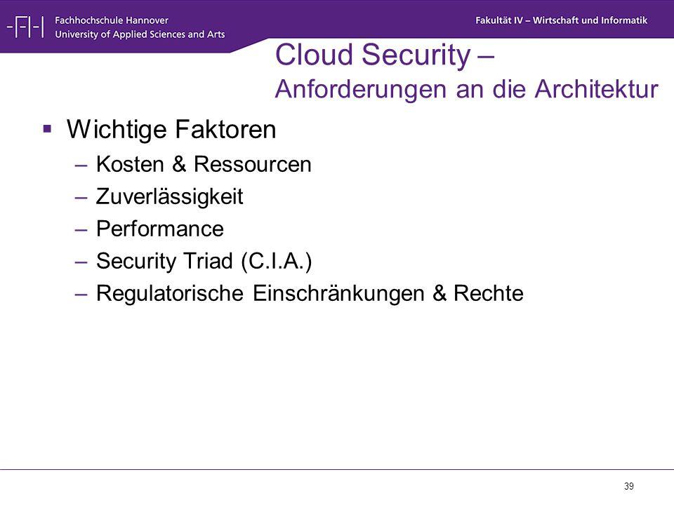 39 Cloud Security – Anforderungen an die Architektur  Wichtige Faktoren –Kosten & Ressourcen –Zuverlässigkeit –Performance –Security Triad (C.I.A.) –