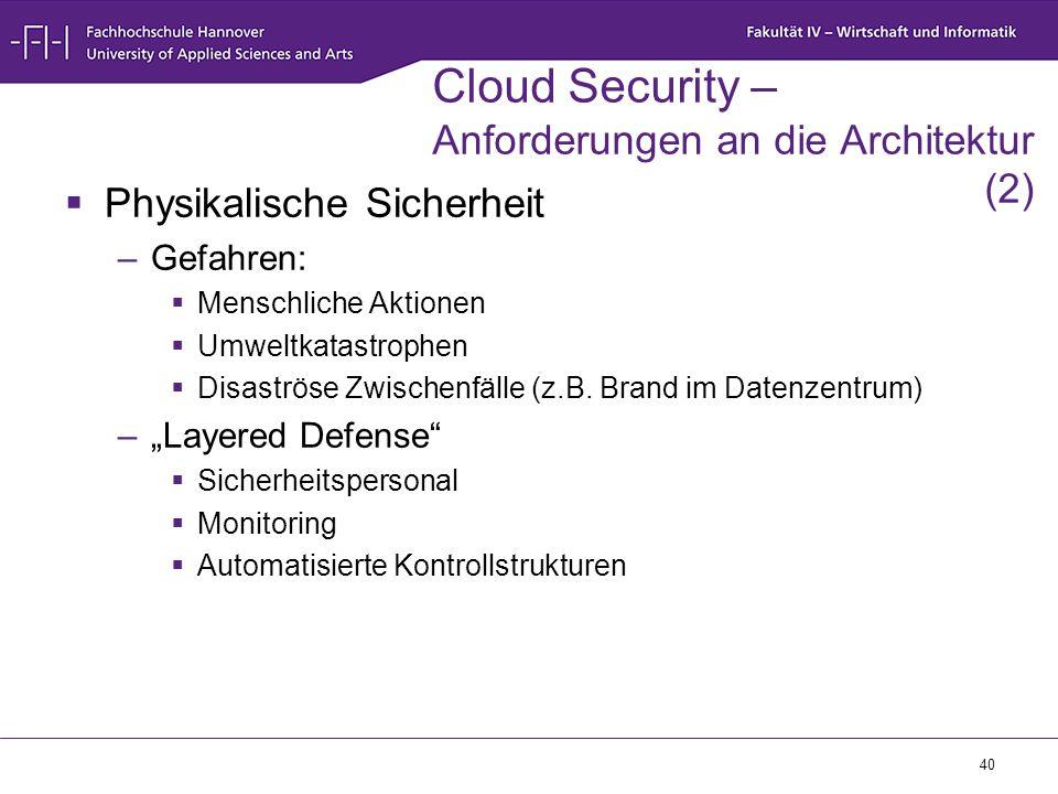 40 Cloud Security – Anforderungen an die Architektur (2)  Physikalische Sicherheit –Gefahren:  Menschliche Aktionen  Umweltkatastrophen  Disaströs