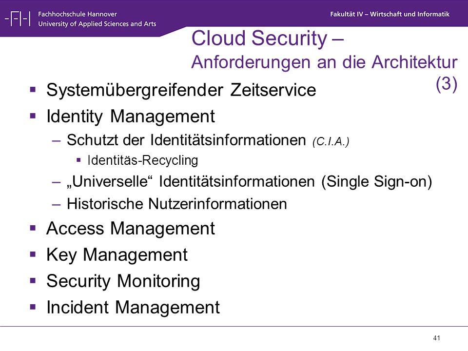 41 Cloud Security – Anforderungen an die Architektur (3)  Systemübergreifender Zeitservice  Identity Management –Schutzt der Identitätsinformationen