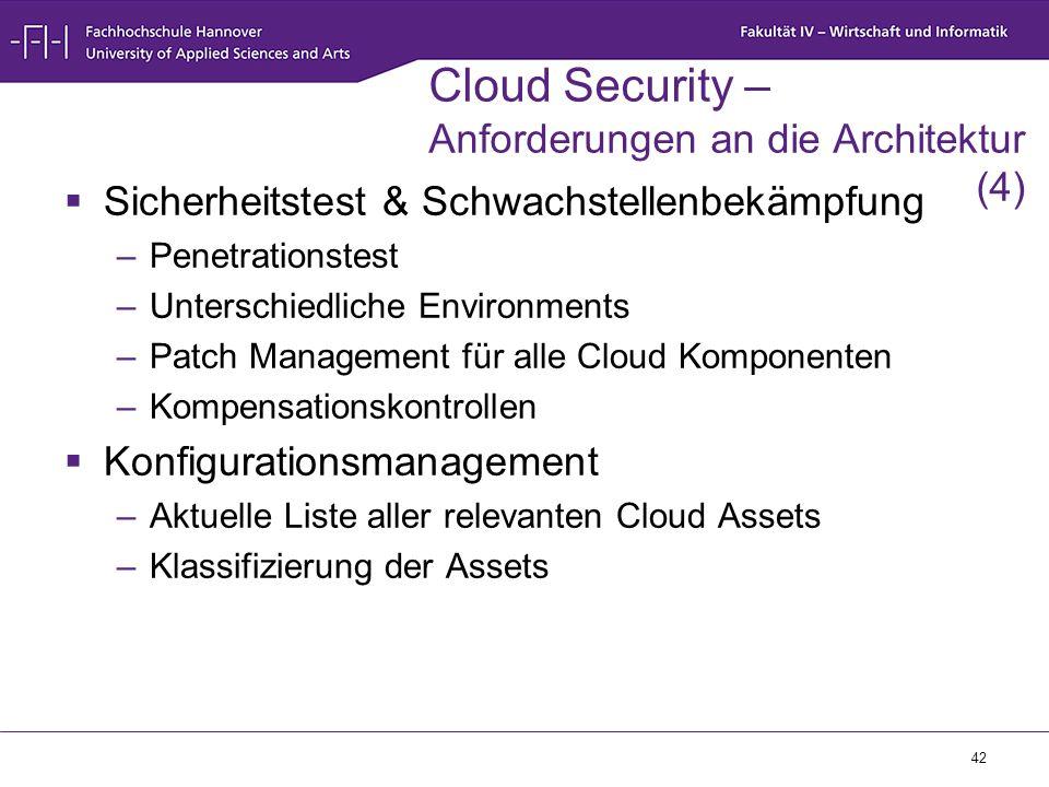 42 Cloud Security – Anforderungen an die Architektur (4)  Sicherheitstest & Schwachstellenbekämpfung –Penetrationstest –Unterschiedliche Environments