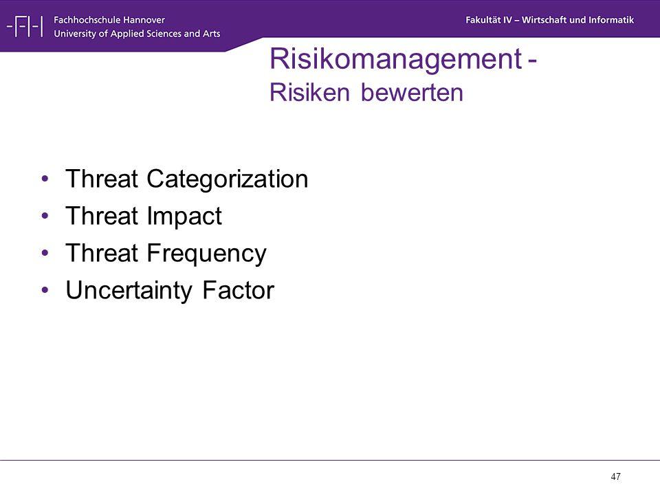 47 Risikomanagement - Risiken bewerten Threat Categorization Threat Impact Threat Frequency Uncertainty Factor