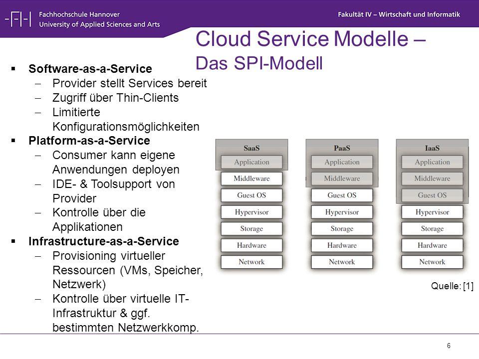 6 Cloud Service Modelle – Das SPI-Modell  Software-as-a-Service  Provider stellt Services bereit  Zugriff über Thin-Clients  Limitierte Konfigurat