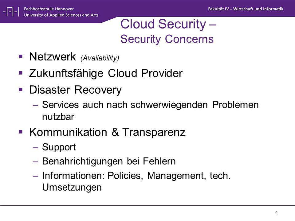 10 Cloud Security – Security Concerns (2)  Kontrollverlust –Daten (Confidentiality, Integrity, Accountability) –Applikationen (Integrity, Availability)  Eingeschränkte Konfigurationsmöglichkeiten  Neue Schwachstellen und Risiken –Schwachstellen in genutzter Hard- und Software  Rechtliche Fragen/Bedenken –Gesetze –Verträge –Zertifikate