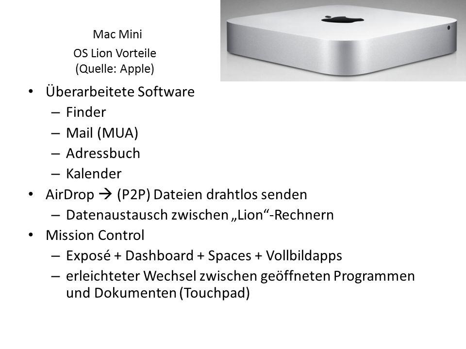 """Überarbeitete Software – Finder – Mail (MUA) – Adressbuch – Kalender AirDrop  (P2P) Dateien drahtlos senden – Datenaustausch zwischen """"Lion""""-Rechnern"""