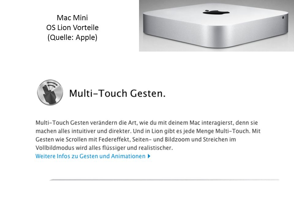 Mac Mini OS Lion Vorteile (Quelle: Apple)