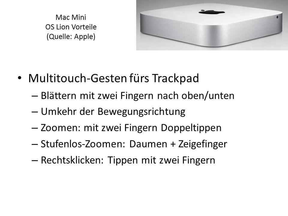Multitouch-Gesten fürs Trackpad – Blättern mit zwei Fingern nach oben/unten – Umkehr der Bewegungsrichtung – Zoomen: mit zwei Fingern Doppeltippen – S