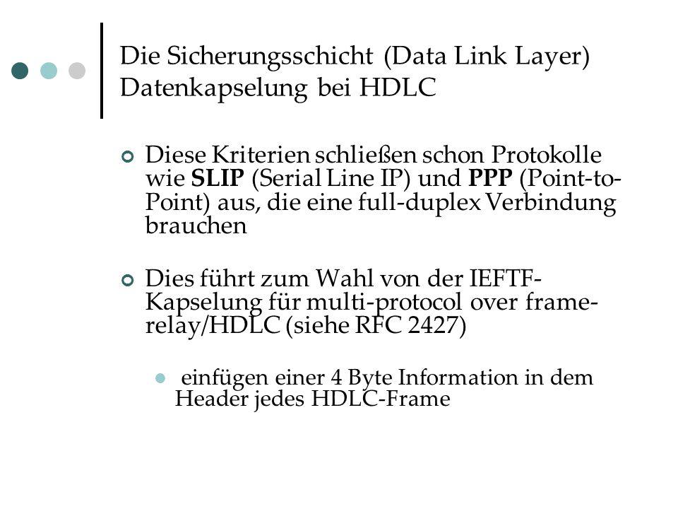 Die Sicherungsschicht (Data Link Layer) Datenkapselung bei HDLC Diese Kriterien schließen schon Protokolle wie SLIP (Serial Line IP) und PPP (Point-to- Point) aus, die eine full-duplex Verbindung brauchen Dies führt zum Wahl von der IEFTF- Kapselung für multi-protocol over frame- relay/HDLC (siehe RFC 2427) einfügen einer 4 Byte Information in dem Header jedes HDLC-Frame
