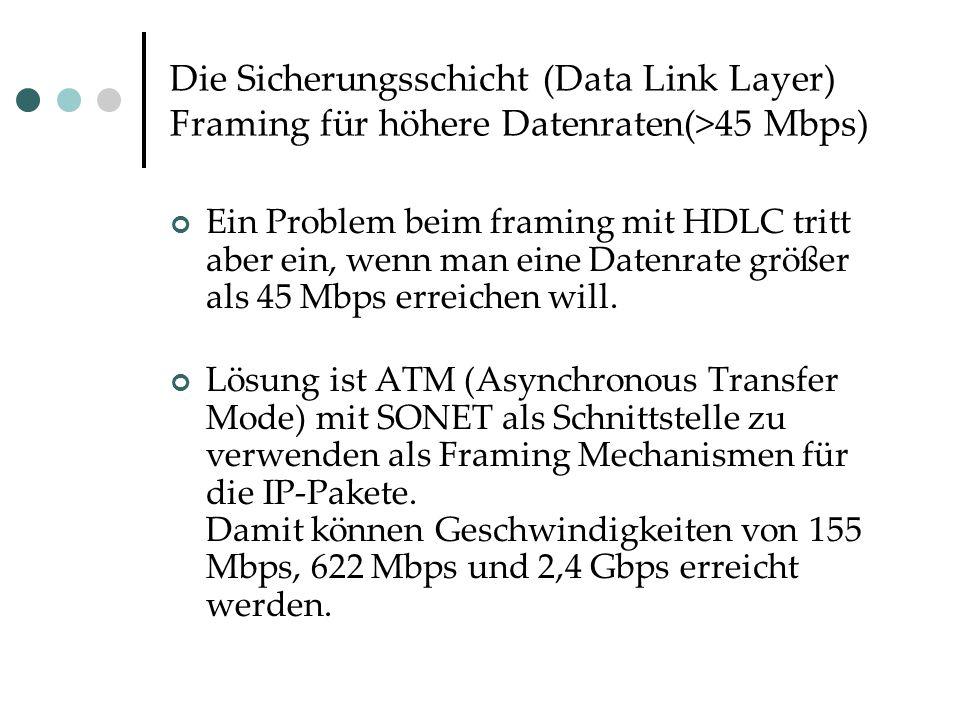 Die Sicherungsschicht (Data Link Layer) Framing für höhere Datenraten(>45 Mbps) Ein Problem beim framing mit HDLC tritt aber ein, wenn man eine Datenrate größer als 45 Mbps erreichen will.