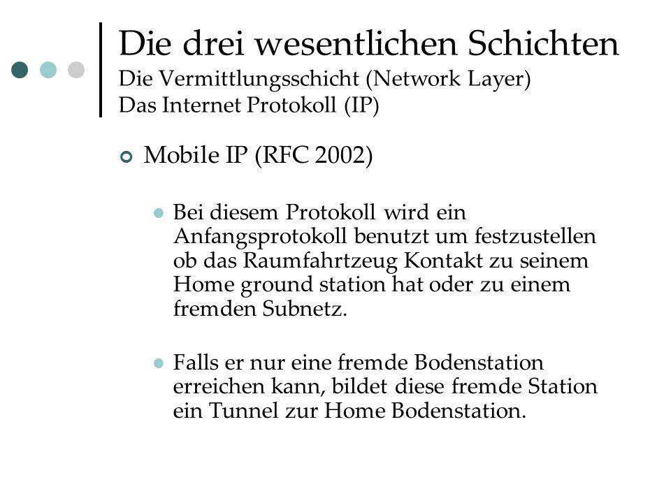 Die drei wesentlichen Schichten Die Vermittlungsschicht (Network Layer) Das Internet Protokoll (IP) Mobile IP (RFC 2002) Bei diesem Protokoll wird ein Anfangsprotokoll benutzt um festzustellen ob das Raumfahrtzeug Kontakt zu seinem Home ground station hat oder zu einem fremden Subnetz.