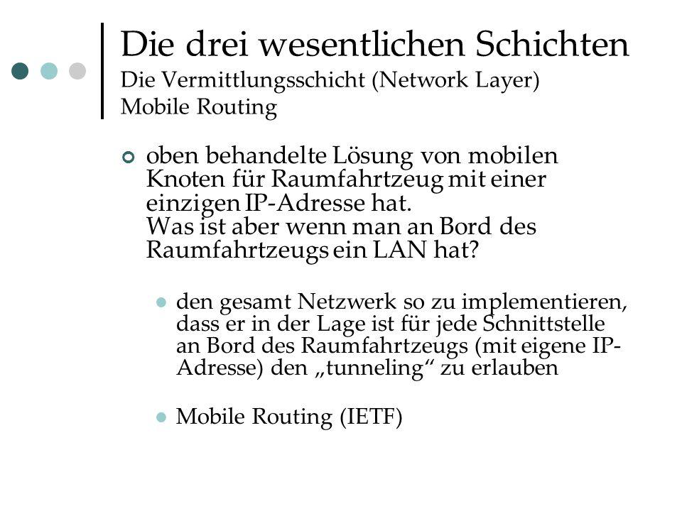 Die drei wesentlichen Schichten Die Vermittlungsschicht (Network Layer) Mobile Routing oben behandelte Lösung von mobilen Knoten für Raumfahrtzeug mit einer einzigen IP-Adresse hat.