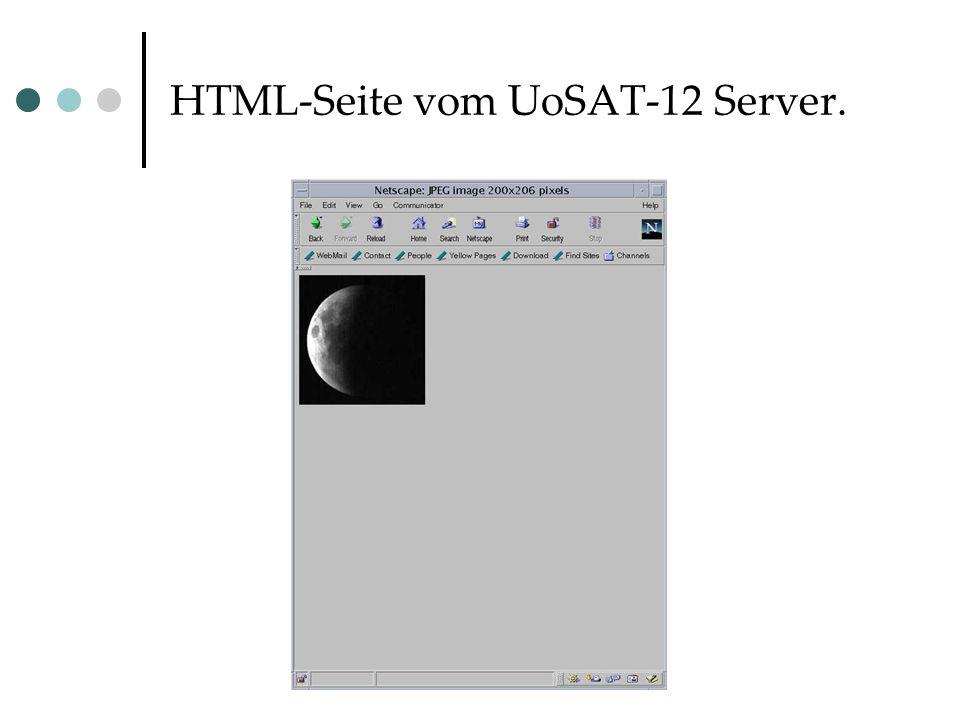 HTML-Seite vom UoSAT-12 Server.