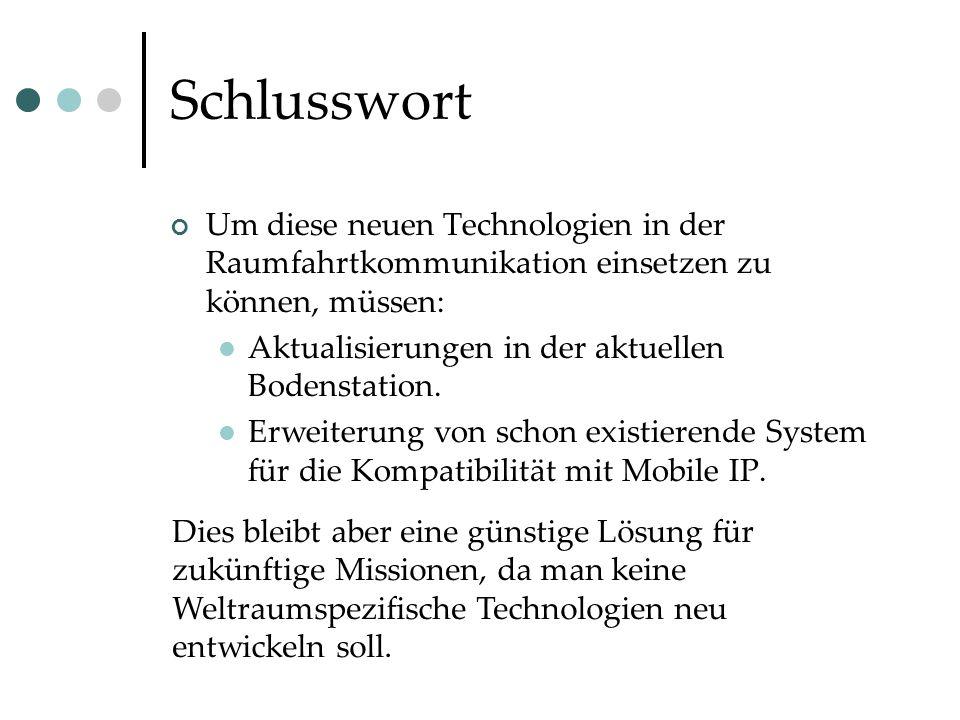 Schlusswort Um diese neuen Technologien in der Raumfahrtkommunikation einsetzen zu können, müssen: Aktualisierungen in der aktuellen Bodenstation.