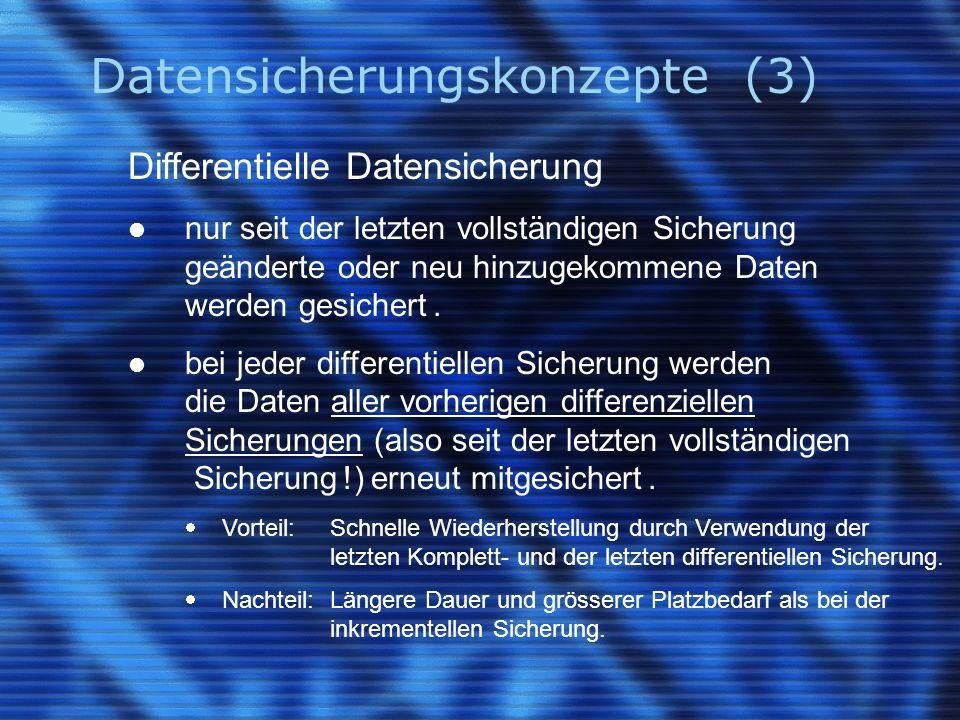 Datensicherungskonzepte (3) Differentielle Datensicherung nur seit der letzten vollständigen Sicherung geänderte oder neu hinzugekommene Daten werden