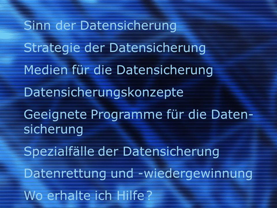 Sinn der Datensicherung (engl.