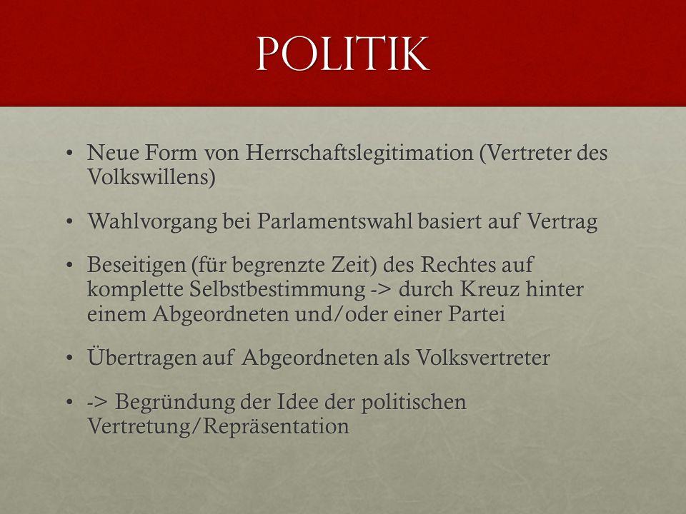 Politik Neue Form von Herrschaftslegitimation (Vertreter des Volkswillens)Neue Form von Herrschaftslegitimation (Vertreter des Volkswillens) Wahlvorga