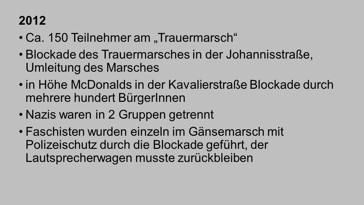 """2012 Ca. 150 Teilnehmer am """"Trauermarsch"""" Blockade des Trauermarsches in der Johannisstraße, Umleitung des Marsches in Höhe McDonalds in der Kavaliers"""