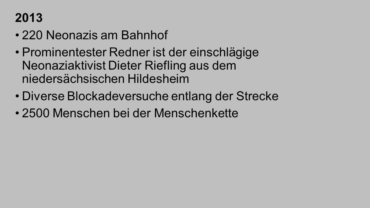2013 220 Neonazis am Bahnhof Prominentester Redner ist der einschlägige Neonaziaktivist Dieter Riefling aus dem niedersächsischen Hildesheim Diverse B