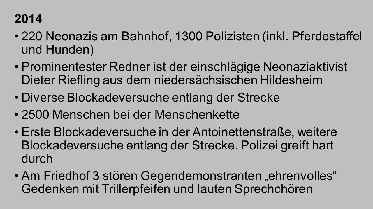2014 220 Neonazis am Bahnhof, 1300 Polizisten (inkl. Pferdestaffel und Hunden) Prominentester Redner ist der einschlägige Neonaziaktivist Dieter Riefl