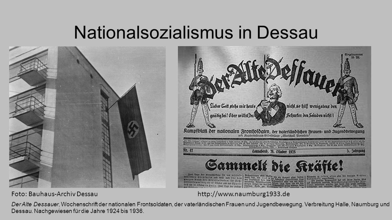 Dessau war von Anfang an ein bedeutendes ideologisches und verwaltungstechnisches Zentrum der Nationalsozialisten Ein paar Fakten: im April 1932 wurde die NSDAP mit 15 Mandaten (vormals gerade 1 Mandat) stärkste Fraktion im Landtag, 6 Mandate kamen dabei aus Dessau.