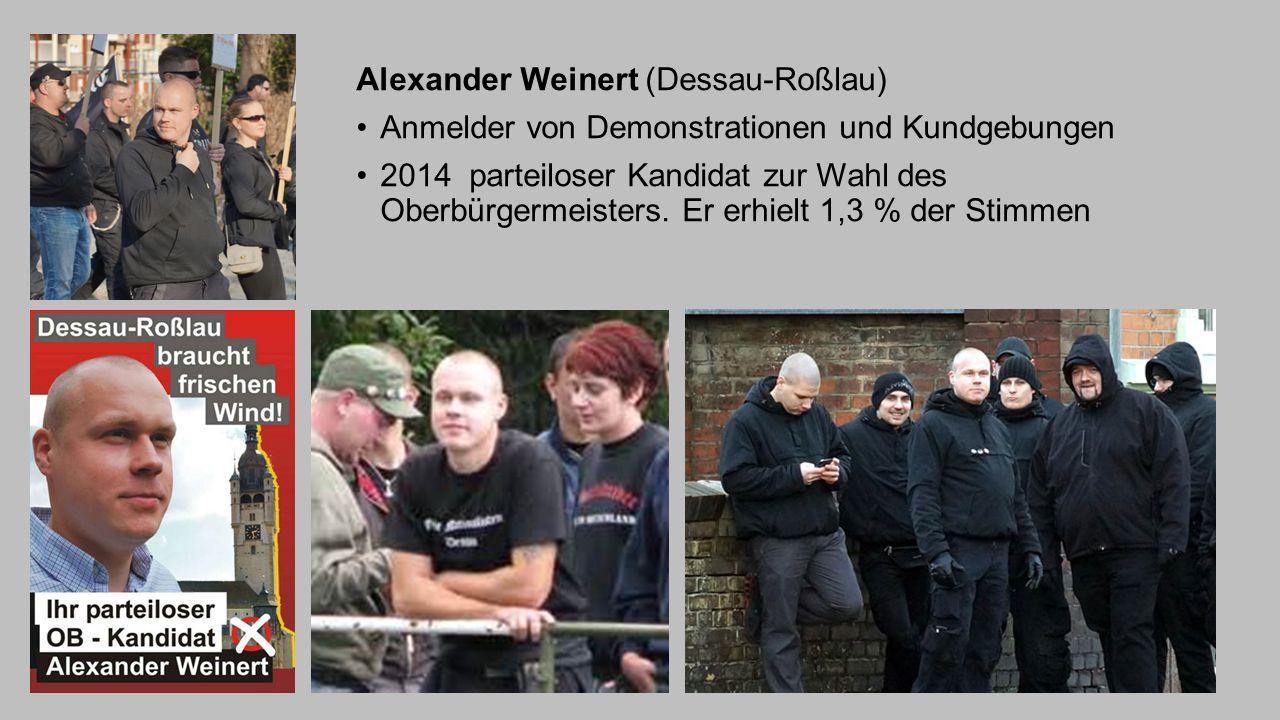 Alexander Weinert (Dessau-Roßlau) Anmelder von Demonstrationen und Kundgebungen 2014 parteiloser Kandidat zur Wahl des Oberbürgermeisters. Er erhielt