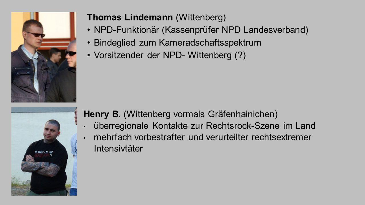 Thomas Lindemann (Wittenberg) NPD-Funktionär (Kassenprüfer NPD Landesverband) Bindeglied zum Kameradschaftsspektrum Vorsitzender der NPD- Wittenberg (