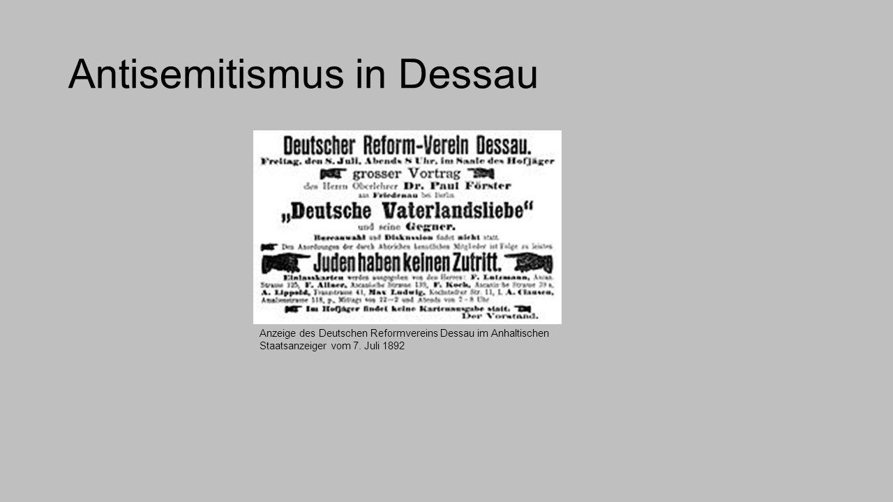 Antisemitismus in Dessau Anzeige des Deutschen Reformvereins Dessau im Anhaltischen Staatsanzeiger vom 7. Juli 1892