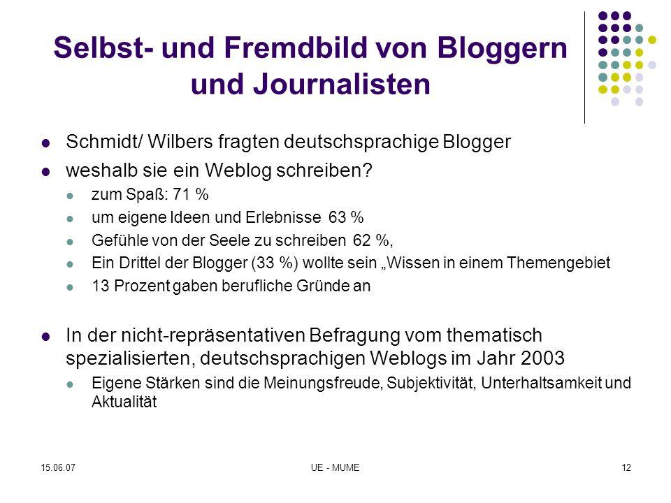Journalistische Standards und Qualitätssicherung Die Befragung thematisch spezialisierter Weblogs im Jahr 2003 durch Neuberger ergab, dass knapp zwei Fünftel der Blogger (38 %) über journalistische Berufserfahrungen verfügten Die Frage, wie effizient die wechselseitige Beobachtung und Kritik als Mechanismus der Qualitätssicherung funktioniert wurde noch nicht empirisch untersucht 15.06.07UE - MUME13