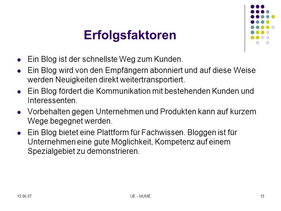 Erfolgsfaktoren Ein Blog ist der schnellste Weg zum Kunden. Ein Blog wird von den Empfängern abonniert und auf diese Weise werden Neuigkeiten direkt w