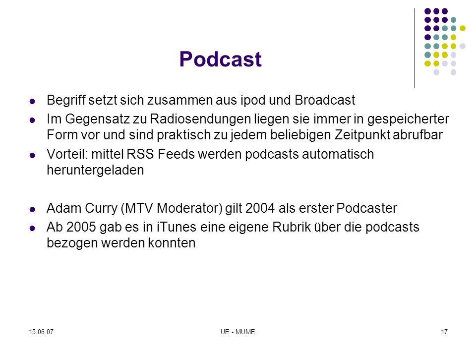 Podcast Begriff setzt sich zusammen aus ipod und Broadcast Im Gegensatz zu Radiosendungen liegen sie immer in gespeicherter Form vor und sind praktisc