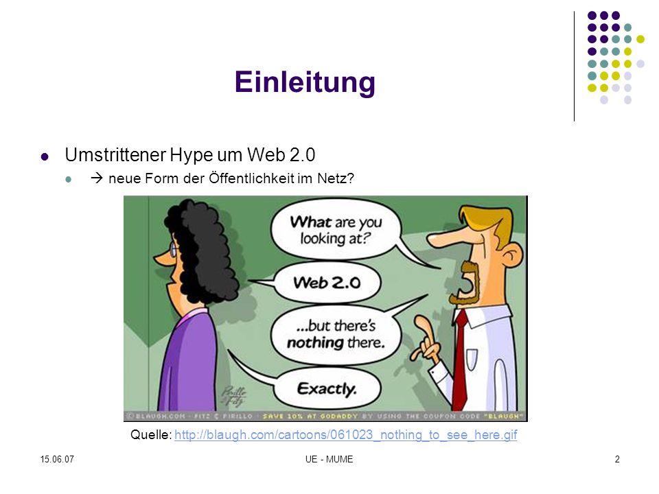 15.06.07UE - MUME2 Einleitung Umstrittener Hype um Web 2.0  neue Form der Öffentlichkeit im Netz? Quelle: http://blaugh.com/cartoons/061023_nothing_t
