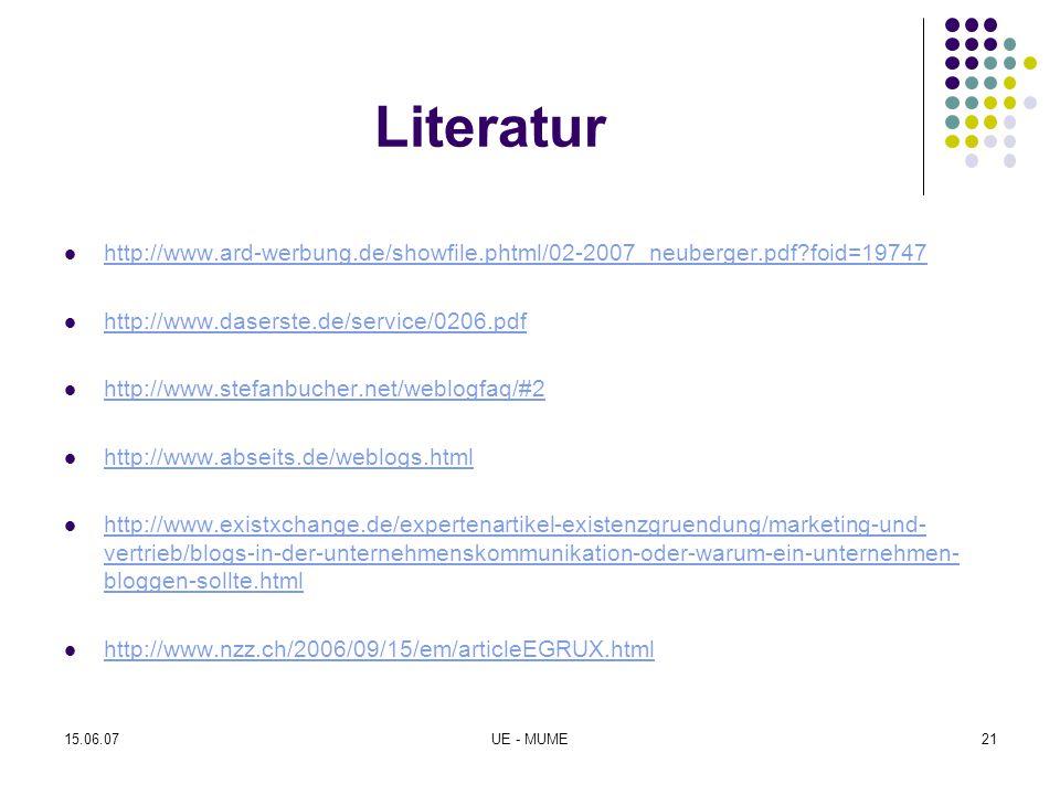 Literatur http://www.ard-werbung.de/showfile.phtml/02-2007_neuberger.pdf?foid=19747 http://www.daserste.de/service/0206.pdf http://www.stefanbucher.ne