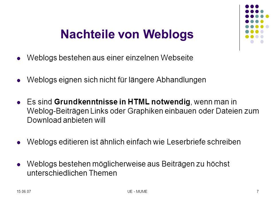 Nachteile von Weblogs Weblogs bestehen aus einer einzelnen Webseite Weblogs eignen sich nicht für längere Abhandlungen Es sind Grundkenntnisse in HTML