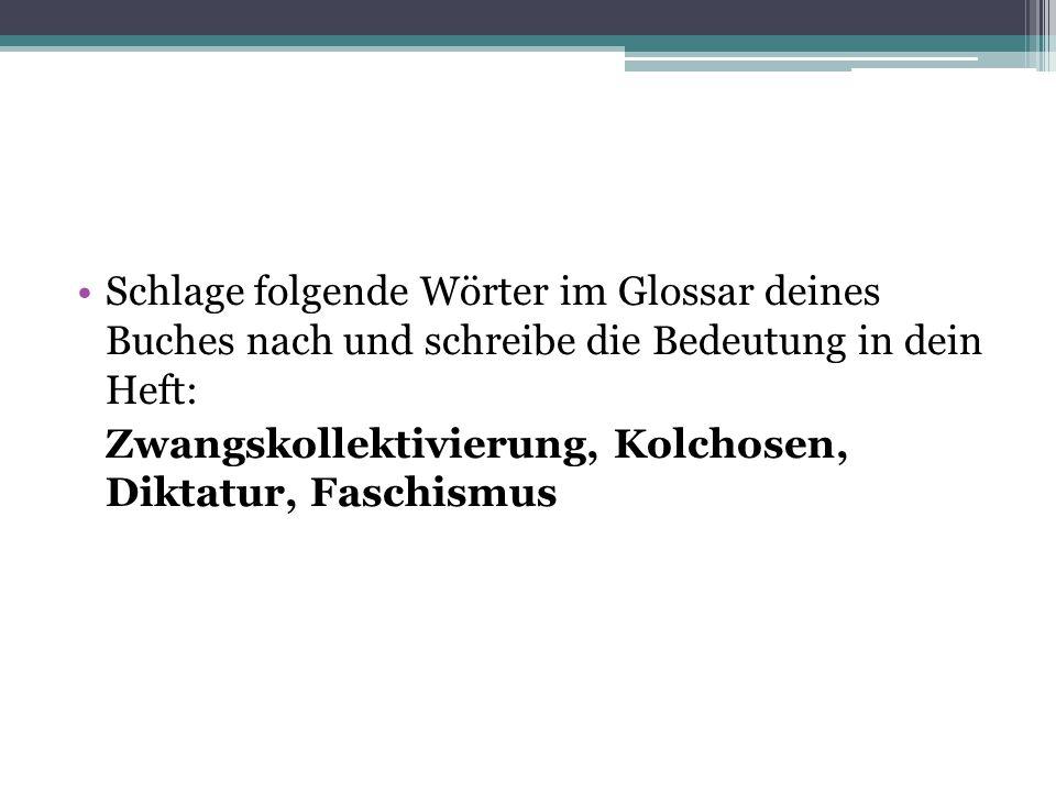 Schlage folgende Wörter im Glossar deines Buches nach und schreibe die Bedeutung in dein Heft: Zwangskollektivierung, Kolchosen, Diktatur, Faschismus