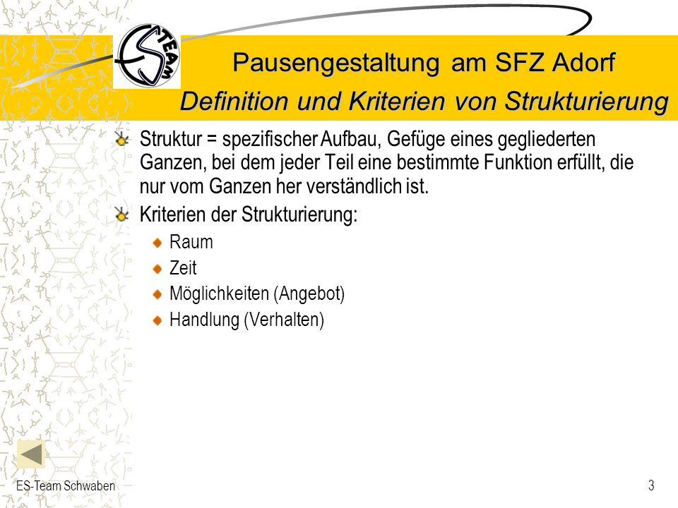 ES-Team Schwaben3 Pausengestaltung am SFZ Adorf Definition und Kriterien von Strukturierung Struktur = spezifischer Aufbau, Gefüge eines gegliederten