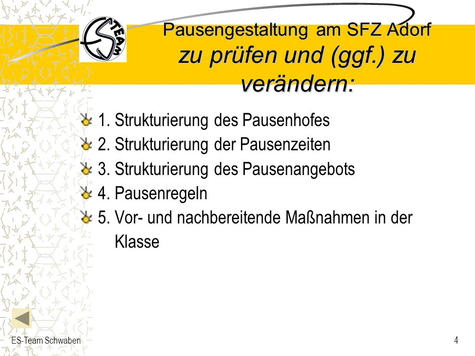 ES-Team Schwaben4 Pausengestaltung am SFZ Adorf zu prüfen und (ggf.) zu verändern: 1. Strukturierung des Pausenhofes 2. Strukturierung der Pausenzeite