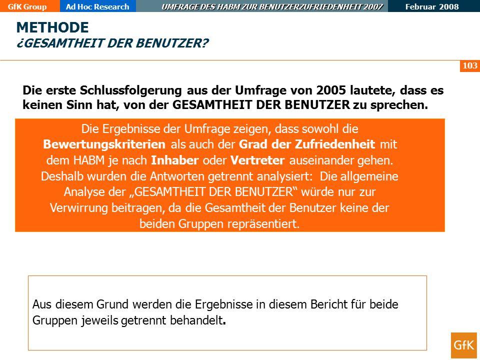 Februar 2008 GfK GroupAd Hoc Research UMFRAGE DES HABM ZUR BENUTZERZUFRIEDENHEIT 2008 Projekt- und Berichtsverantwortliche(r) bei GfK Emer Ad-Hoc Research: Ángeles Bacete; E-Mail: angeles.bacete@gfk-emer.com