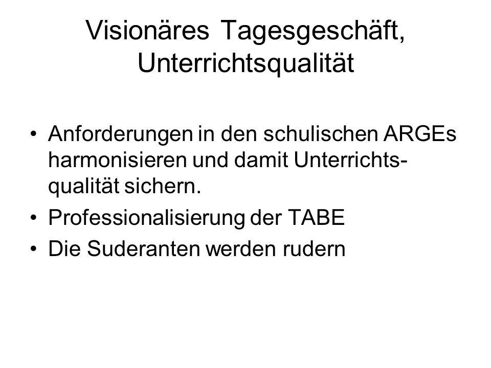 Visionäres Tagesgeschäft, Unterrichtsqualität Anforderungen in den schulischen ARGEs harmonisieren und damit Unterrichts- qualität sichern.