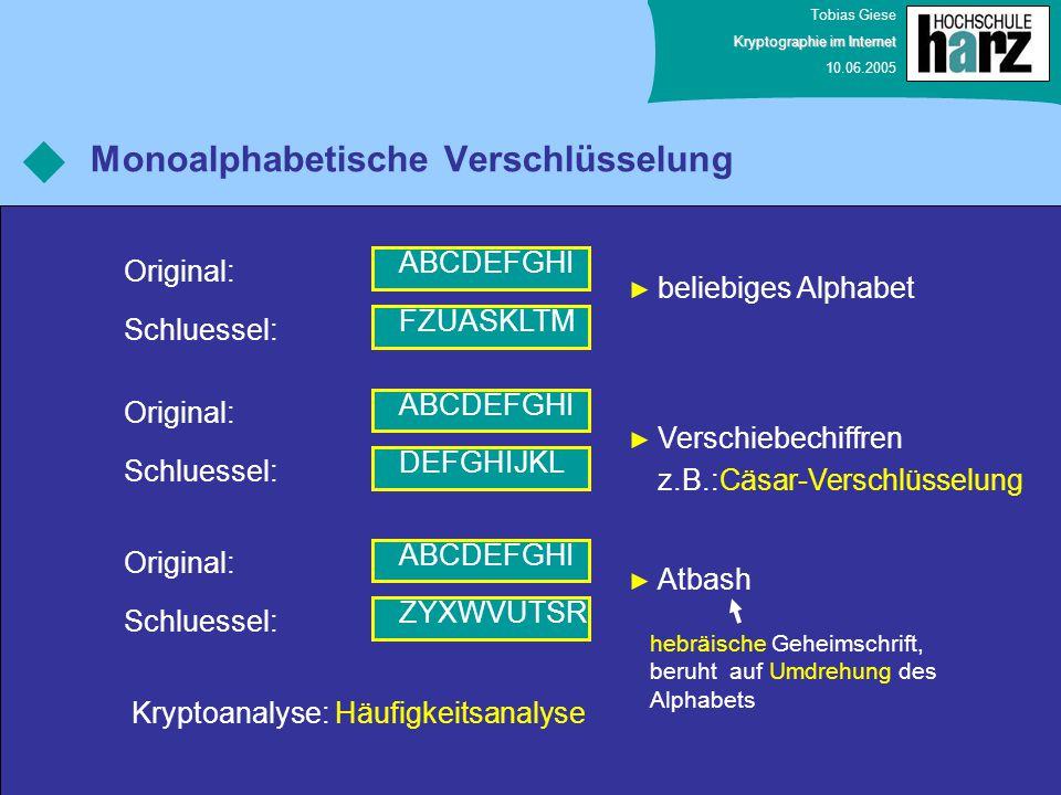 Tobias Giese Kryptographie im Internet 10.06.2005 Monoalphabetische Verschlüsselung ABCDEFGHI Original: FZUASKLTM Schluessel: ABCDEFGHI Original: DEFG