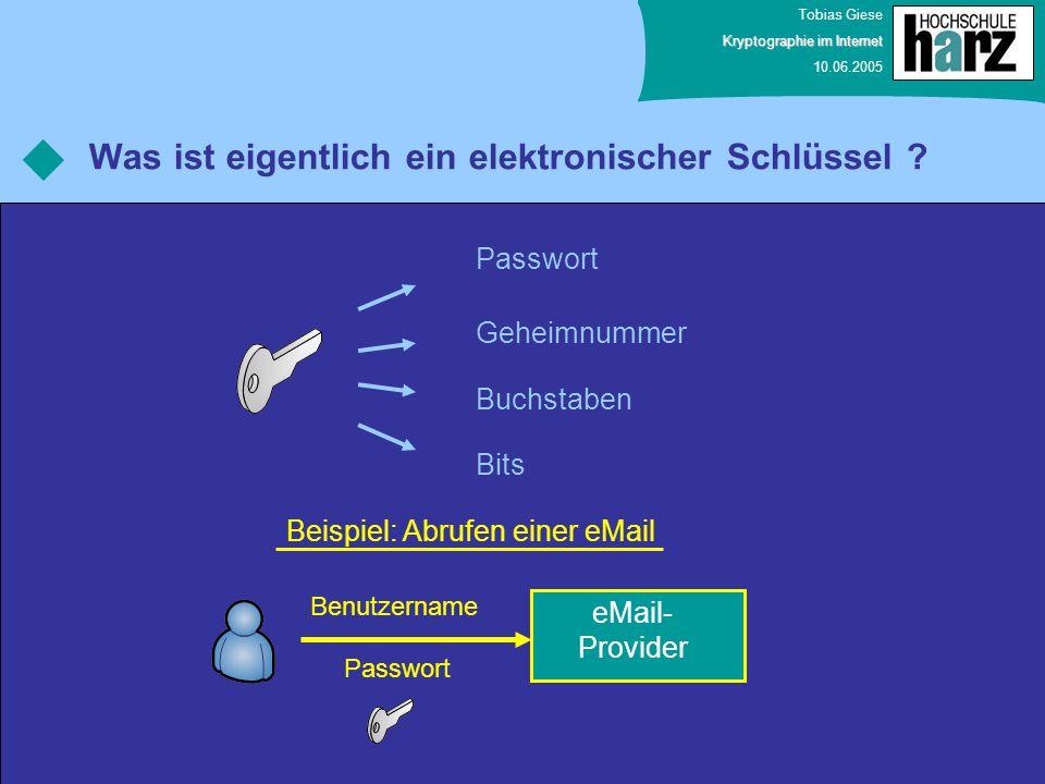 Tobias Giese Kryptographie im Internet 10.06.2005 Was ist eigentlich ein elektronischer Schlüssel ? Passwort Geheimnummer Bits Buchstaben eMail- Provi