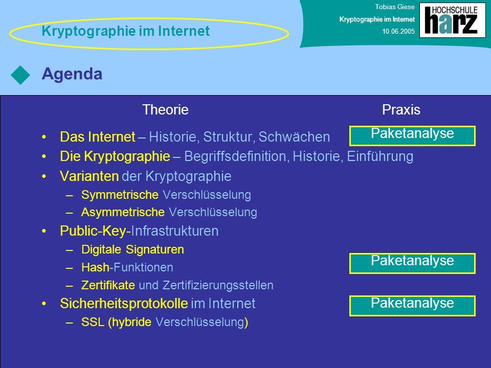 Tobias Giese Kryptographie im Internet 10.06.2005 Unverschlüsselte Datenübertragung – Vertraulichkeit Bedrohungen der Sicherheit