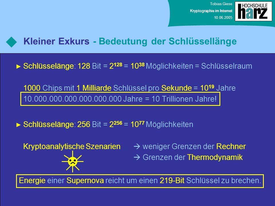 Tobias Giese Kryptographie im Internet 10.06.2005 Kleiner Exkurs - Bedeutung der Schlüssellänge Schlüsselänge: 128 Bit = 2 128 = 10 38 Möglichkeiten =