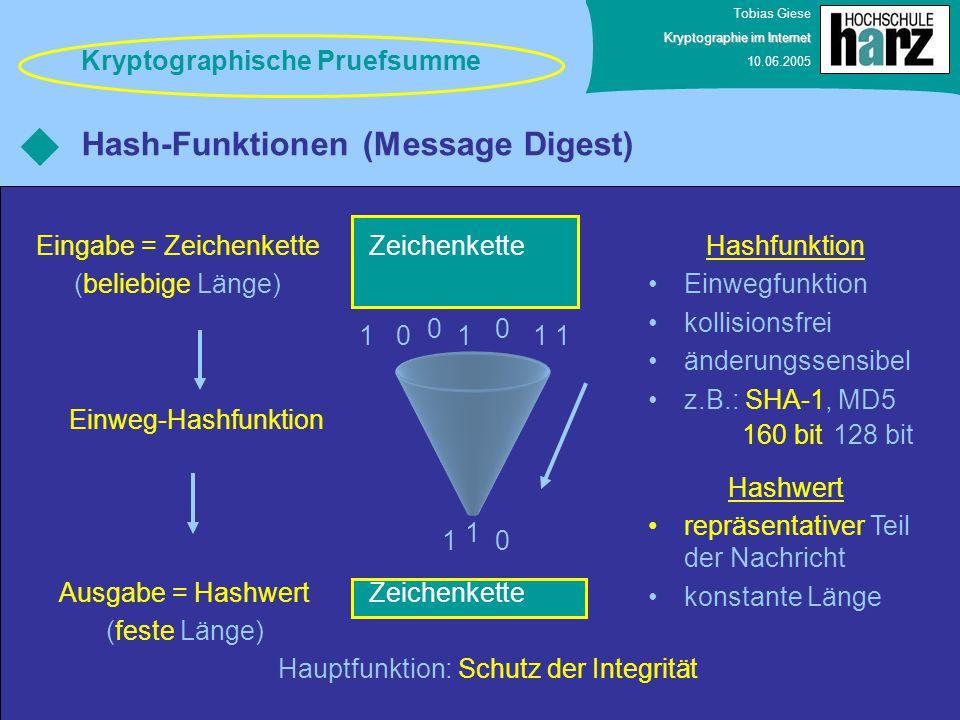Tobias Giese Kryptographie im Internet 10.06.2005 Hash-Funktionen (Message Digest) Zeichenkette Eingabe = Zeichenkette (beliebige Länge) 0111 00 1 1 1