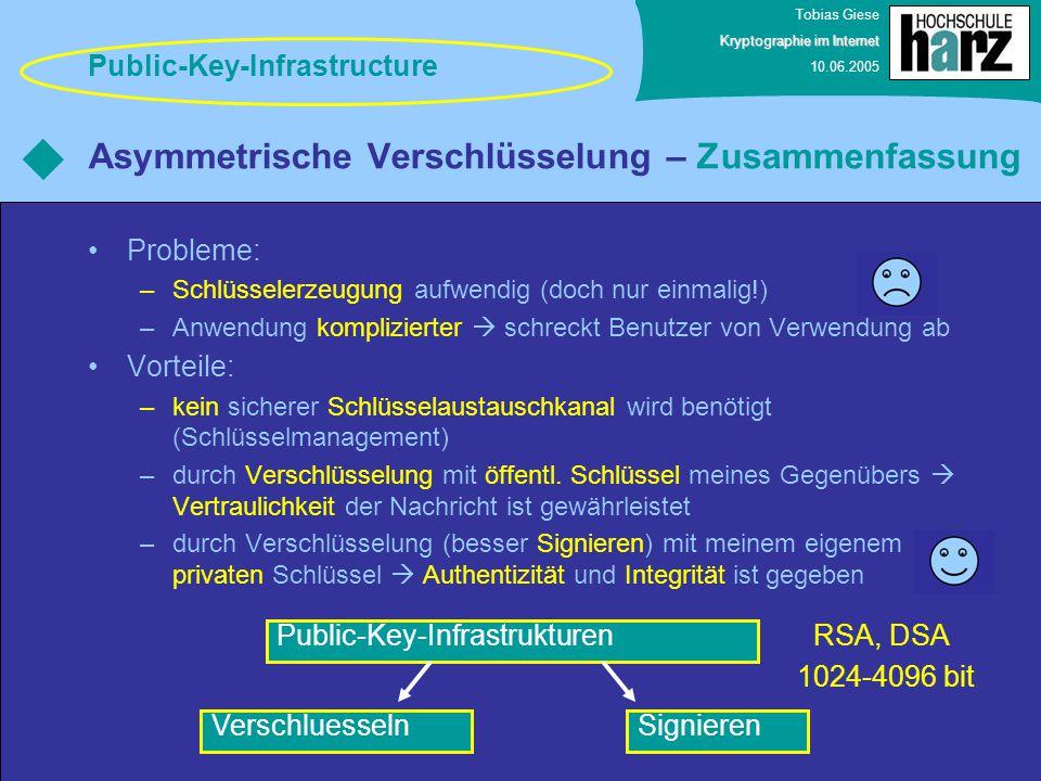 Tobias Giese Kryptographie im Internet 10.06.2005 Asymmetrische Verschlüsselung – Zusammenfassung Probleme: –Schlüsselerzeugung aufwendig (doch nur ei