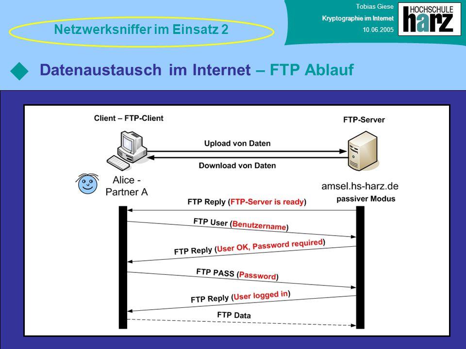 Tobias Giese Kryptographie im Internet 10.06.2005 Datenaustausch im Internet – FTP Ablauf Netzwerksniffer im Einsatz 2