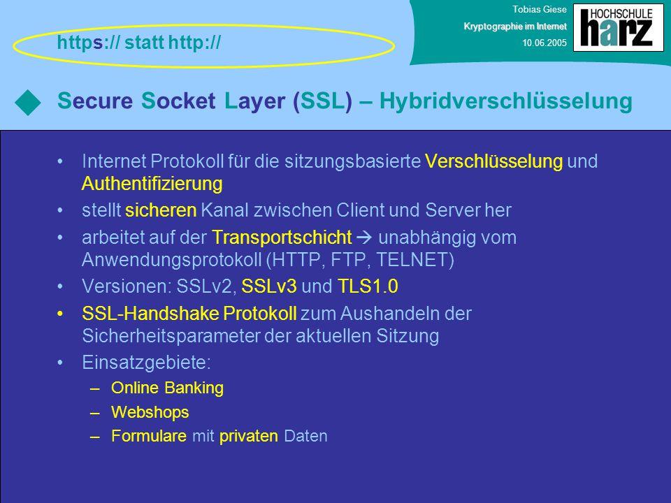 Tobias Giese Kryptographie im Internet 10.06.2005 Secure Socket Layer (SSL) – Hybridverschlüsselung Internet Protokoll für die sitzungsbasierte Versch