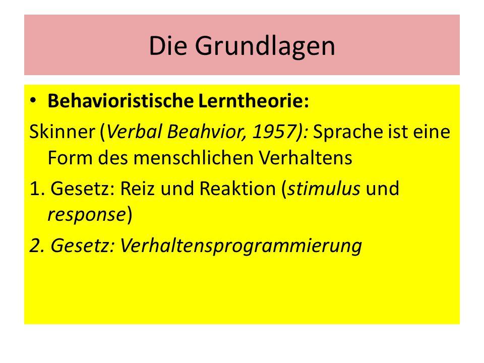 Die Grundlagen Behavioristische Lerntheorie: Skinner (Verbal Beahvior, 1957): Sprache ist eine Form des menschlichen Verhaltens 1. Gesetz: Reiz und Re