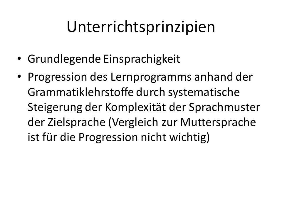 Unterrichtsprinzipien Grundlegende Einsprachigkeit Progression des Lernprogramms anhand der Grammatiklehrstoffe durch systematische Steigerung der Kom