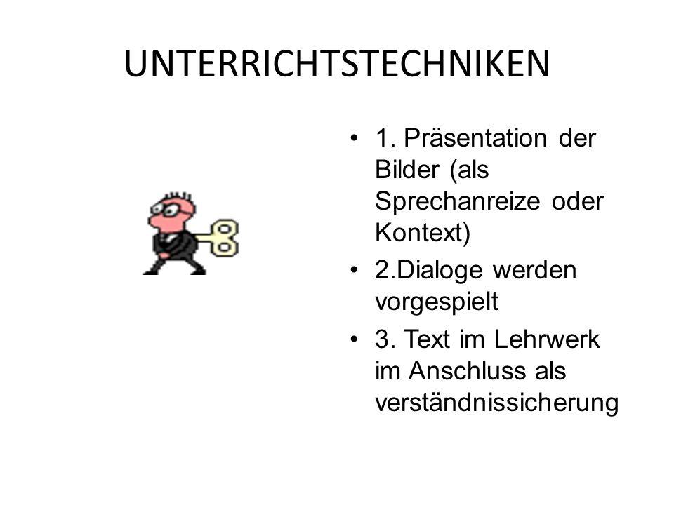 UNTERRICHTSTECHNIKEN 1. Präsentation der Bilder (als Sprechanreize oder Kontext) 2.Dialoge werden vorgespielt 3. Text im Lehrwerk im Anschluss als ver